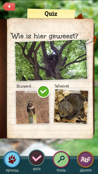 A screenshot of the in-app quiz