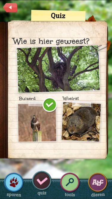 A screenshot of the in-app quiz