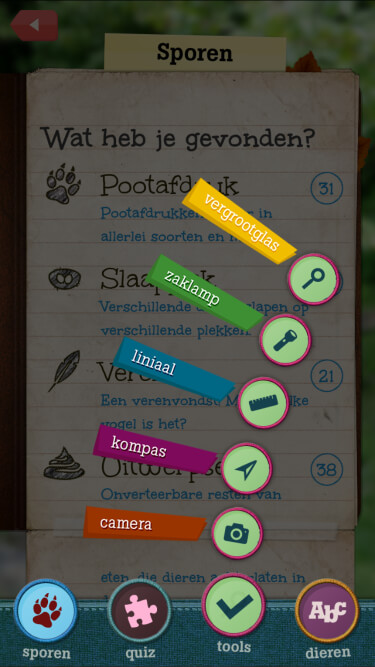 A screenshot of the tools screen: a list of available tools such as a ruler, compass and magnifying glass